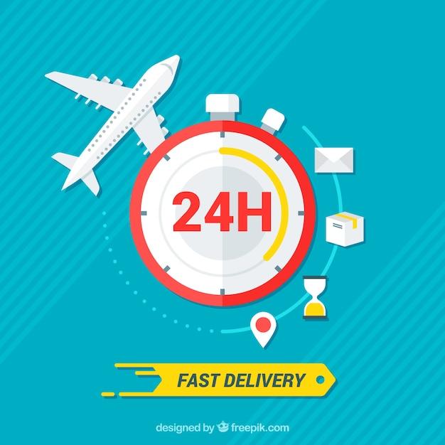 Avion et horloge avec un design plat Vecteur gratuit