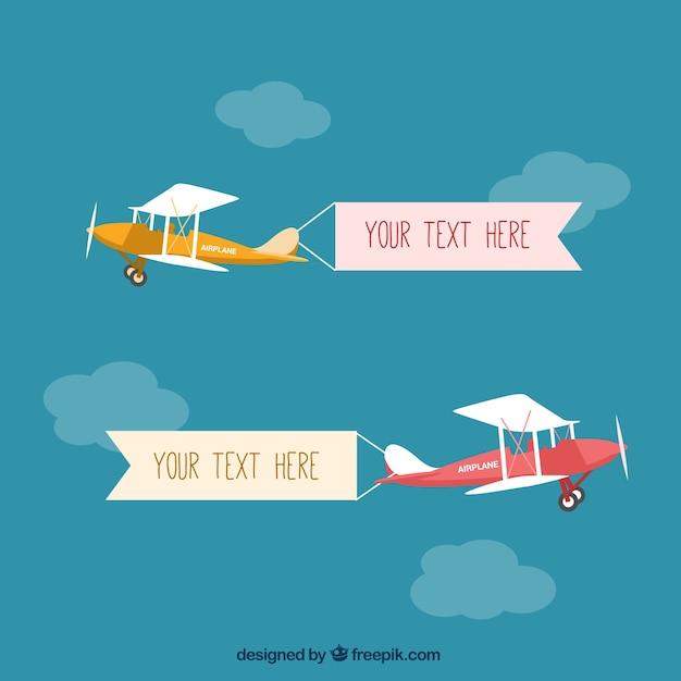 Avion léger avec des bannières Vecteur gratuit