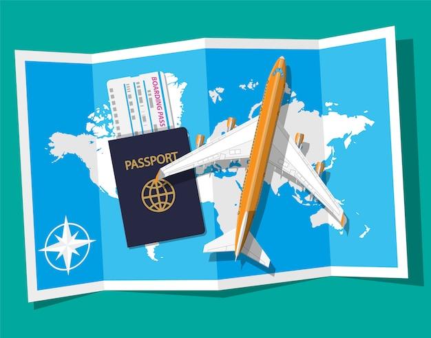 Avion De Passagers, Carte D'embarquement Et Passeport, Carte Vecteur Premium