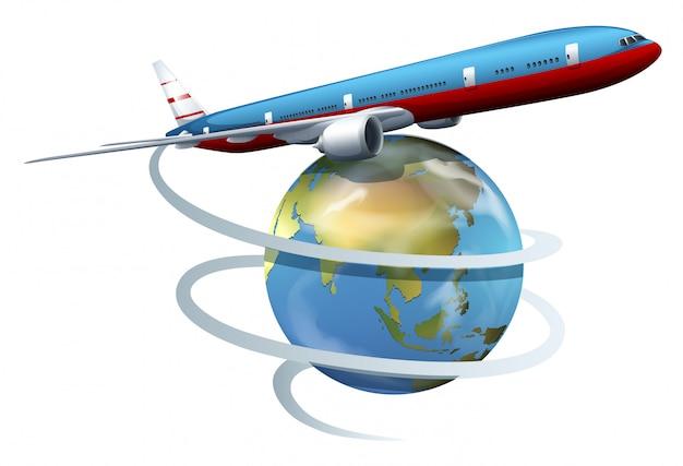 Un avion qui fait le tour du monde Vecteur gratuit