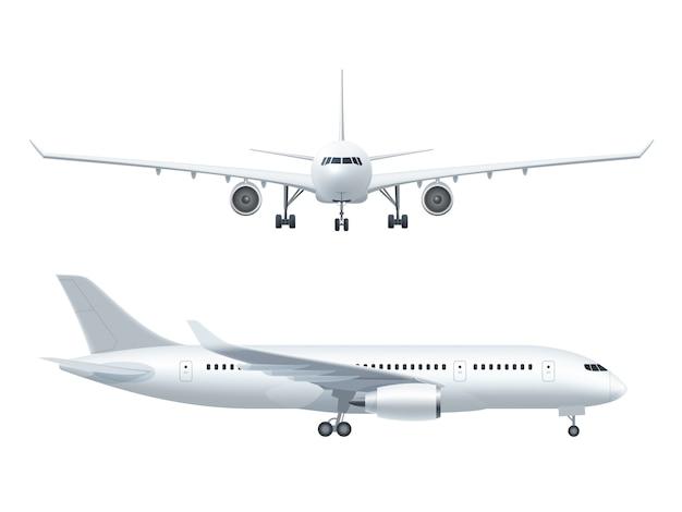 Avion réaliste icons set Vecteur gratuit