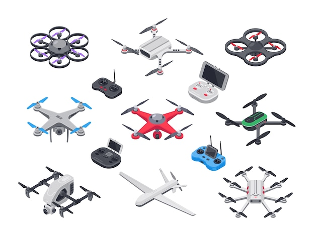 Avion sans pilote, drone de livraison à hélices, caméra et contrôleur informatique. Vecteur Premium