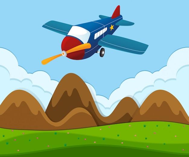 Avion survoler le paysage vert Vecteur gratuit