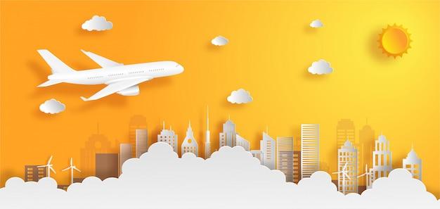 Avion volant au-dessus des nuages avec le concept de transport de fret. Vecteur Premium