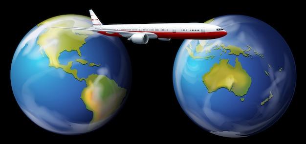 Avion volant autour du monde Vecteur Premium