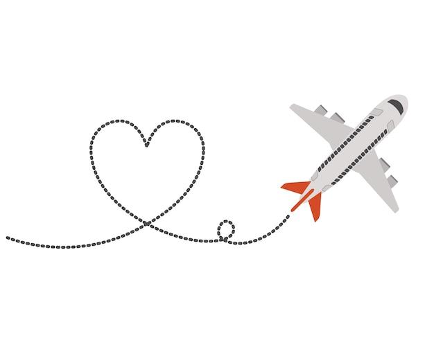 Avion volant avec coeur Vecteur Premium