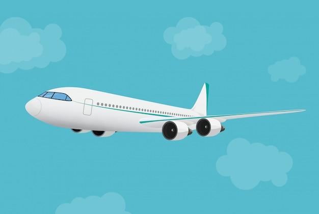 Avion volant dans le ciel. Vecteur Premium