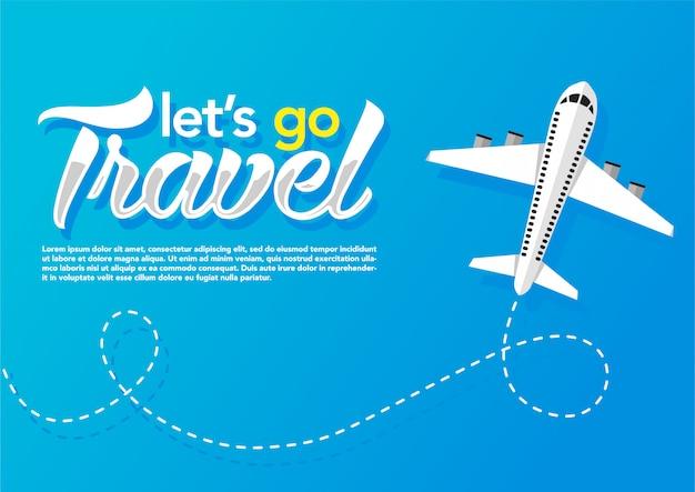 Avion Volant En Fond Bleu. Bannière Web Vecteur Premium