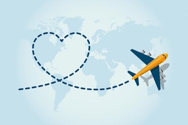 Avion volant et laisser une trace bleue pointillée Vecteur Premium