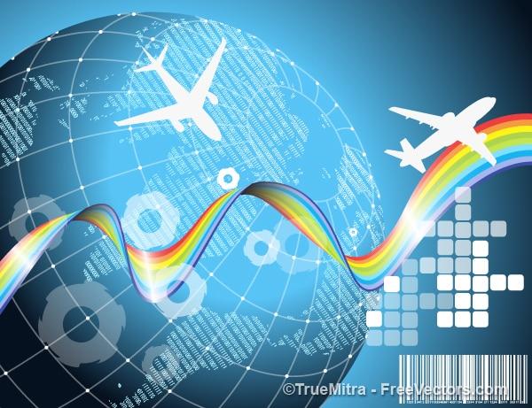 Avion voyage terre vecteur jeu de fond t l charger des - Jeu info avion ...