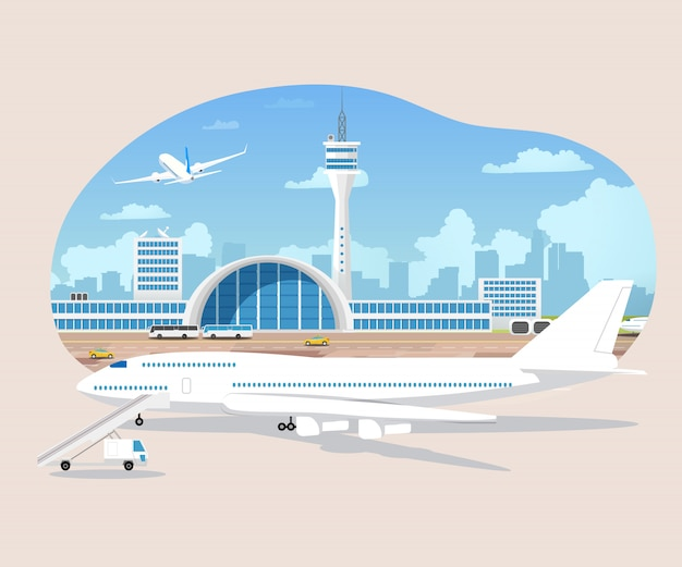 Avions en attente et décollage dans le vecteur de l'aéroport Vecteur Premium