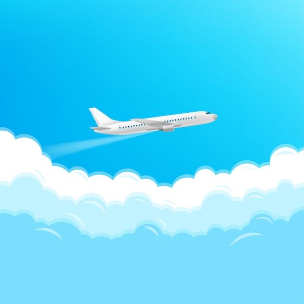 Avions Modernes Volant Dans Un Ciel. Concept De Voyage Vecteur Premium