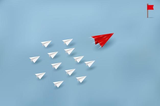 Les avions en papier sont en concurrence avec les destinations. concepts financiers d'entreprise Vecteur Premium