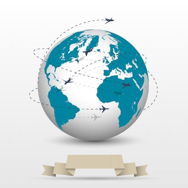 Avions volant autour du globe Vecteur Premium