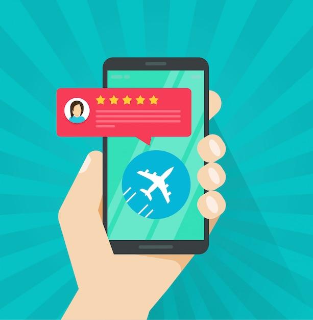 Avis de vol ou commentaires en ligne depuis un téléphone portable ou un téléphone portable Vecteur Premium