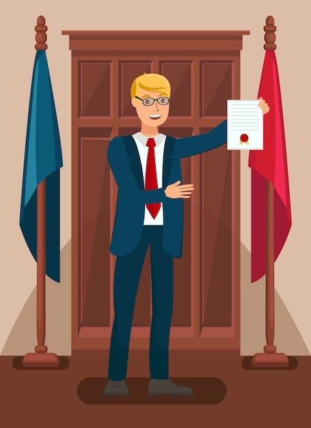 Avocat Présentant Des Preuves Devant Un Tribunal Illustration Plate Vecteur Premium