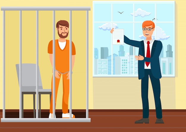 Avocat et prisonnier au tribunal Vecteur Premium
