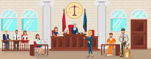 Un avocat de vector flat protège l'accusé est témoin. Vecteur Premium