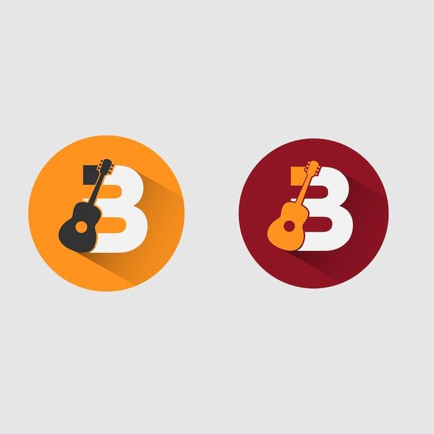 B logo de musique Vecteur Premium