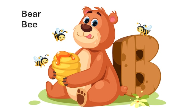 B Pour Bear Bee Vecteur Premium