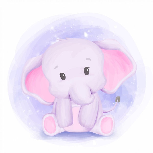 Baby elephant new born nursery arts Vecteur Premium