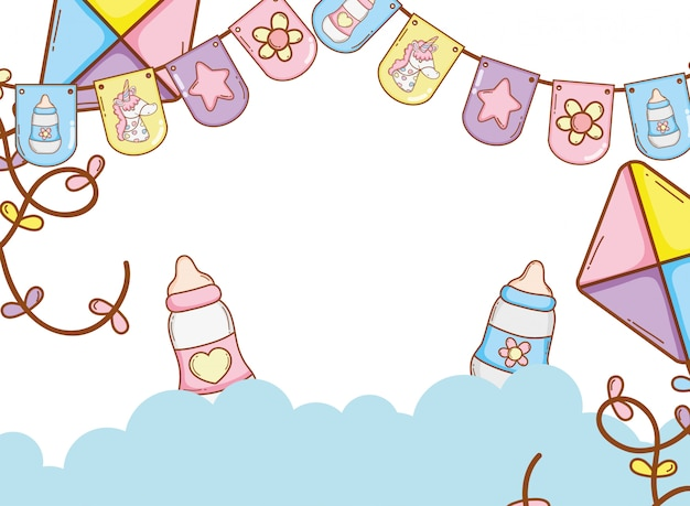 Baby pennants party Vecteur Premium