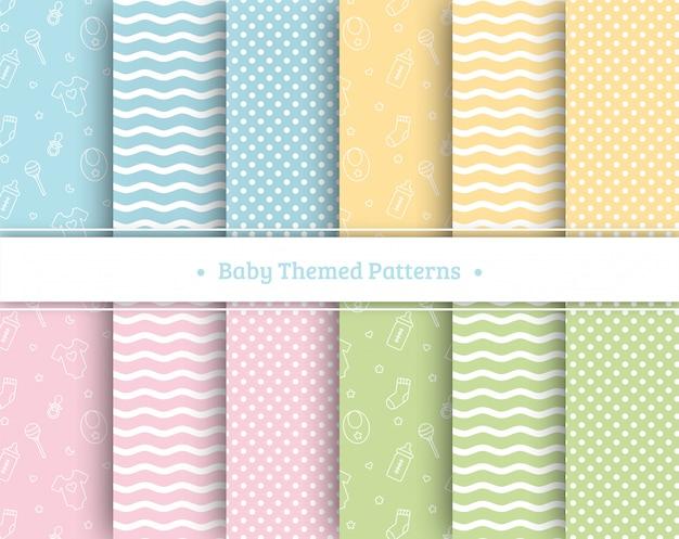 Baby seamless patterns set on pastel couleurs Vecteur Premium