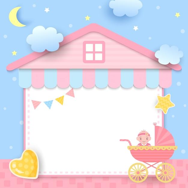 Baby shower avec poussette et cadre de maison Vecteur Premium
