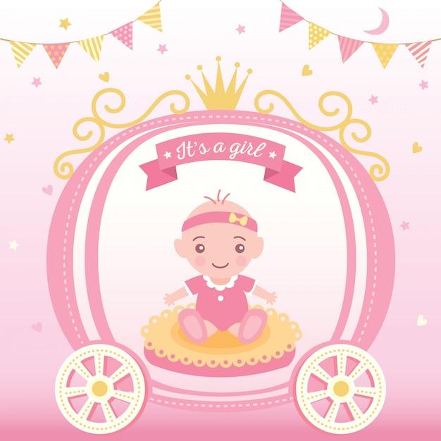 Baby shower princesse filles Vecteur Premium