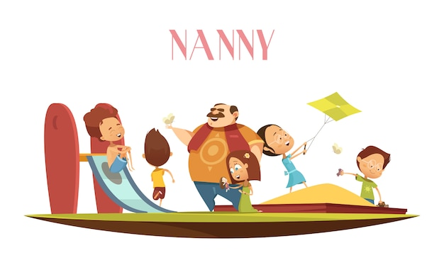 Baby-sitter homme avec enfants cartoon illustration Vecteur gratuit
