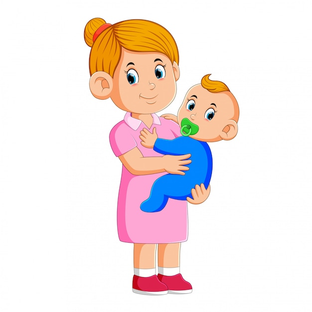 Baby Sitter Prendre Soin Du Bébé Vecteur Premium