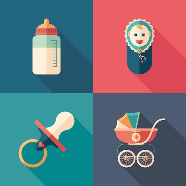 Baby time set d'icônes carrées isométriques avec longues ombres. Vecteur Premium