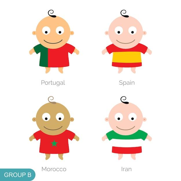Baby world football, dessin animé drôle Vecteur Premium