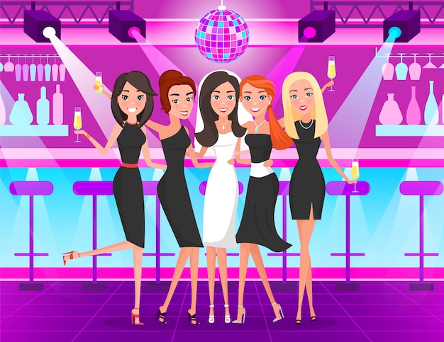 Bachelorette party, filles dansant dans une discothèque Vecteur Premium