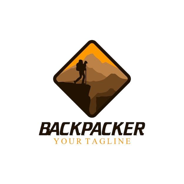 Backpacker logo Vecteur Premium
