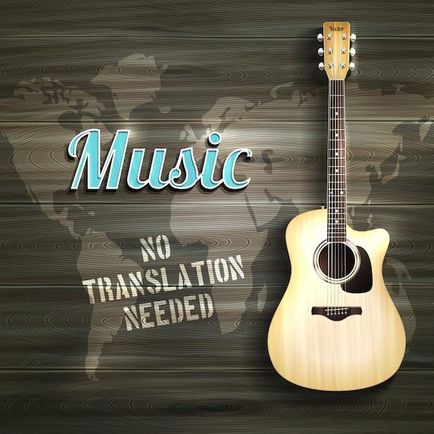Backround Guitare En Bois Vecteur gratuit