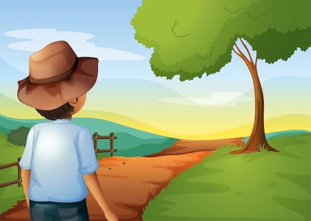Un Backview D'un Jeune Agriculteur Vecteur gratuit