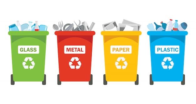 Bacs de recyclage pour le plastique, le métal, le papier et le verre Vecteur Premium