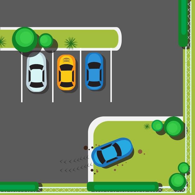 Bad city parking bloquant les voitures concept top view angle Vecteur Premium