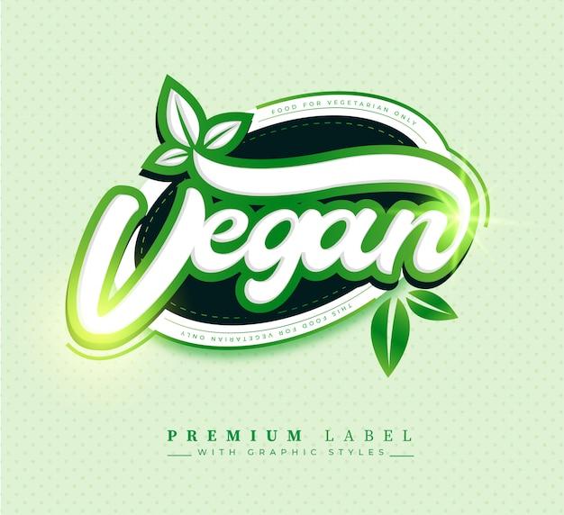 Badge D'autocollant D'étiquette Alimentaire Végétalien Premium Vecteur gratuit