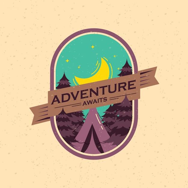 Badge d'aventure vintage Vecteur Premium