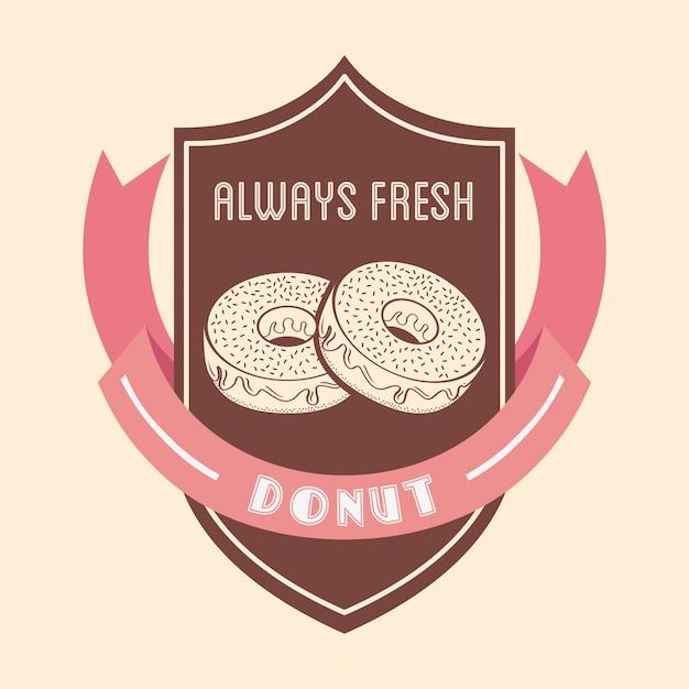 Badge de beignets sucrés Vecteur gratuit