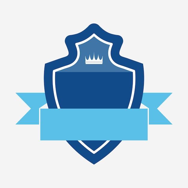 Badge bleu orné d'une bannière Vecteur gratuit