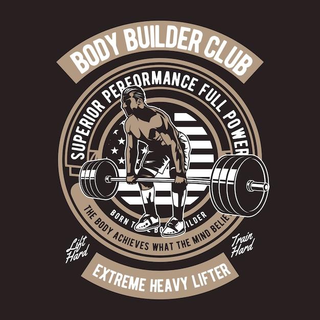 Badge body builder club Vecteur Premium