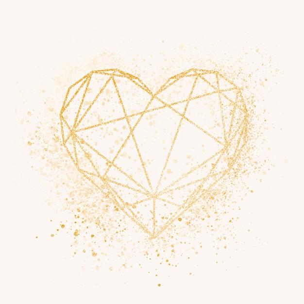 Badge coeur doré Vecteur gratuit