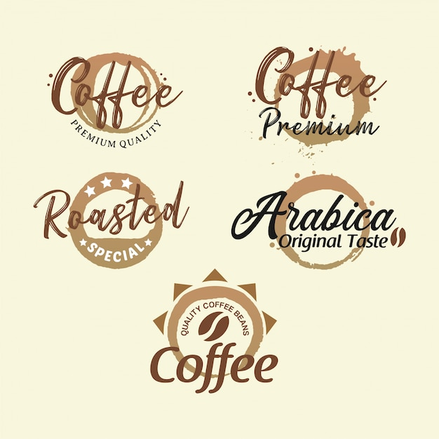 Badge Collection Café Premium Vecteur Premium
