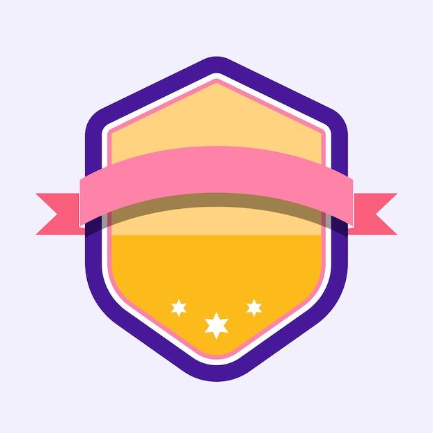 Badge coloré agrémenté d'une bannière Vecteur gratuit