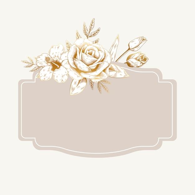 Badge floral romantique Vecteur gratuit