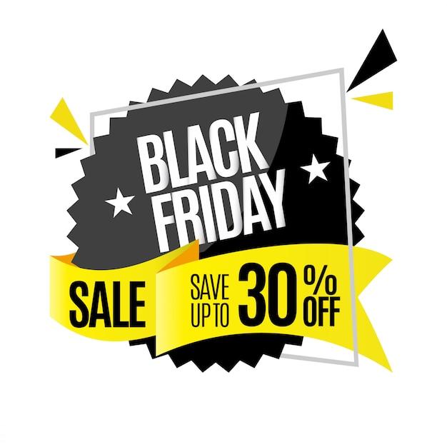 Badge flottant noir pour vendredi noir Vecteur Premium