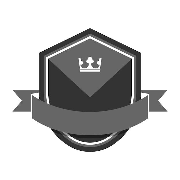 Badge gris orné d'une bannière Vecteur gratuit